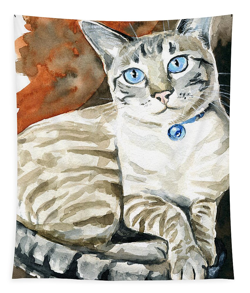Lynx Point Siamese Tapestry featuring the painting Lynx Point Siamese Cat Painting by Dora Hathazi Mendes
