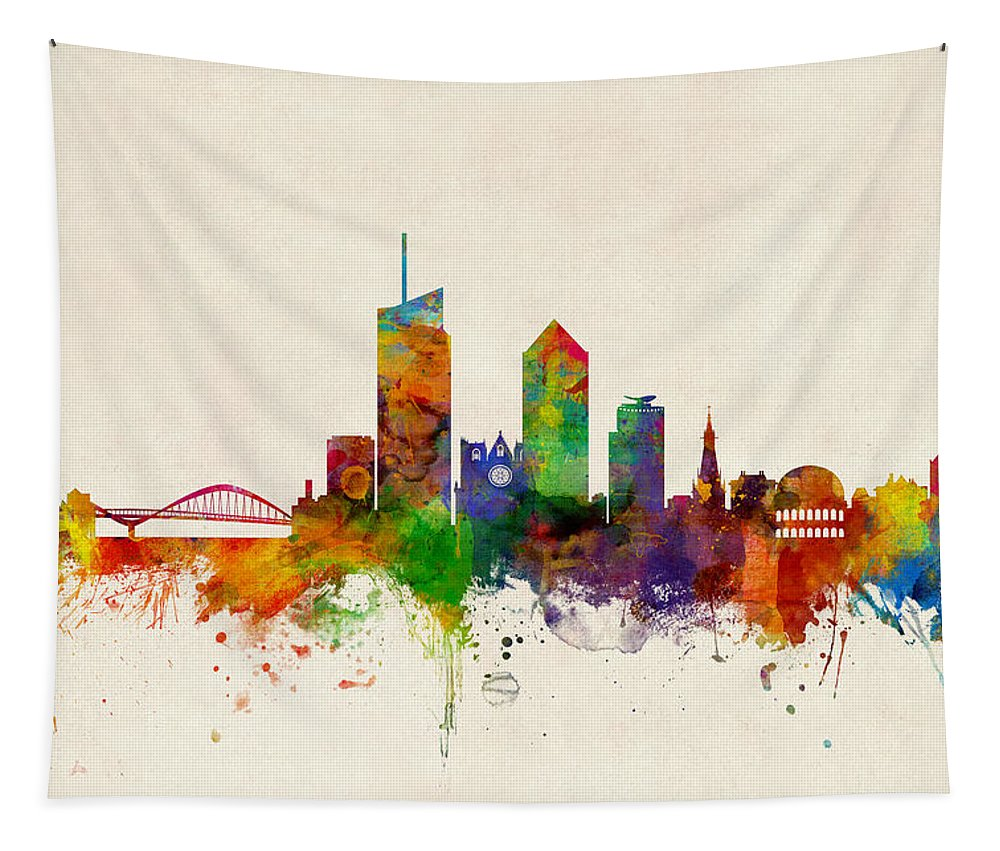 Lyon Tapestry featuring the digital art Lyon France Skyline by Michael Tompsett