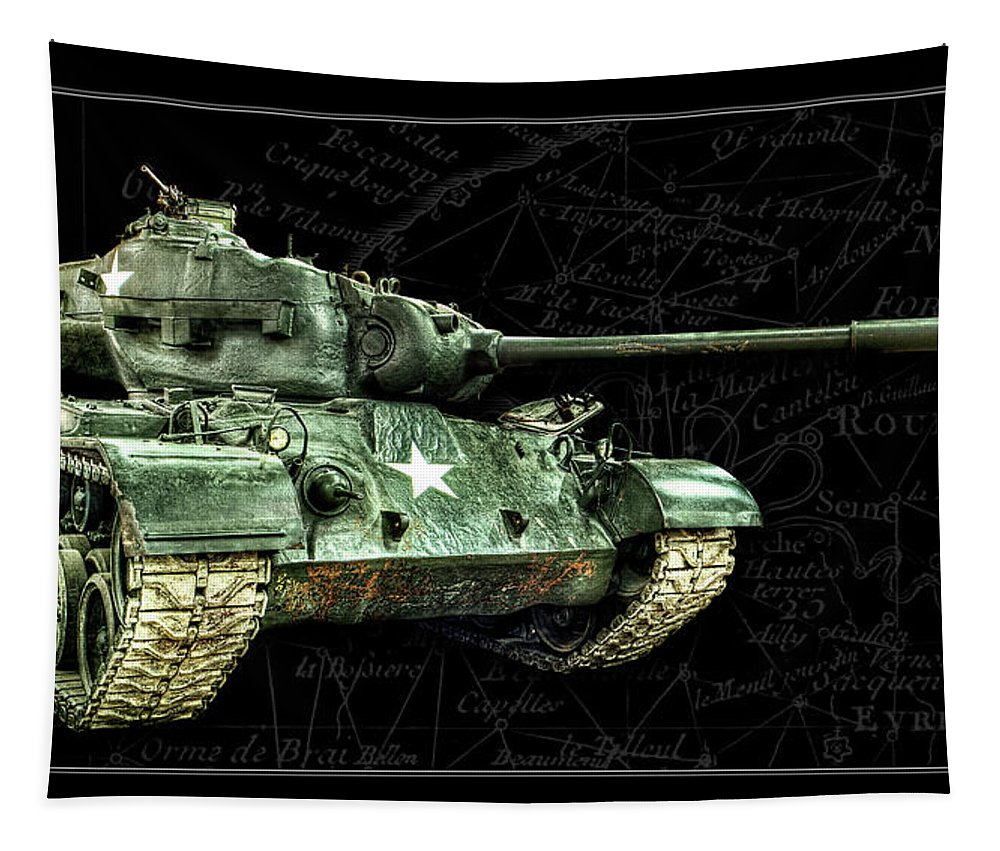 M26 Tapestry featuring the photograph M26 Pershing Tank Bk Bg by Weston Westmoreland