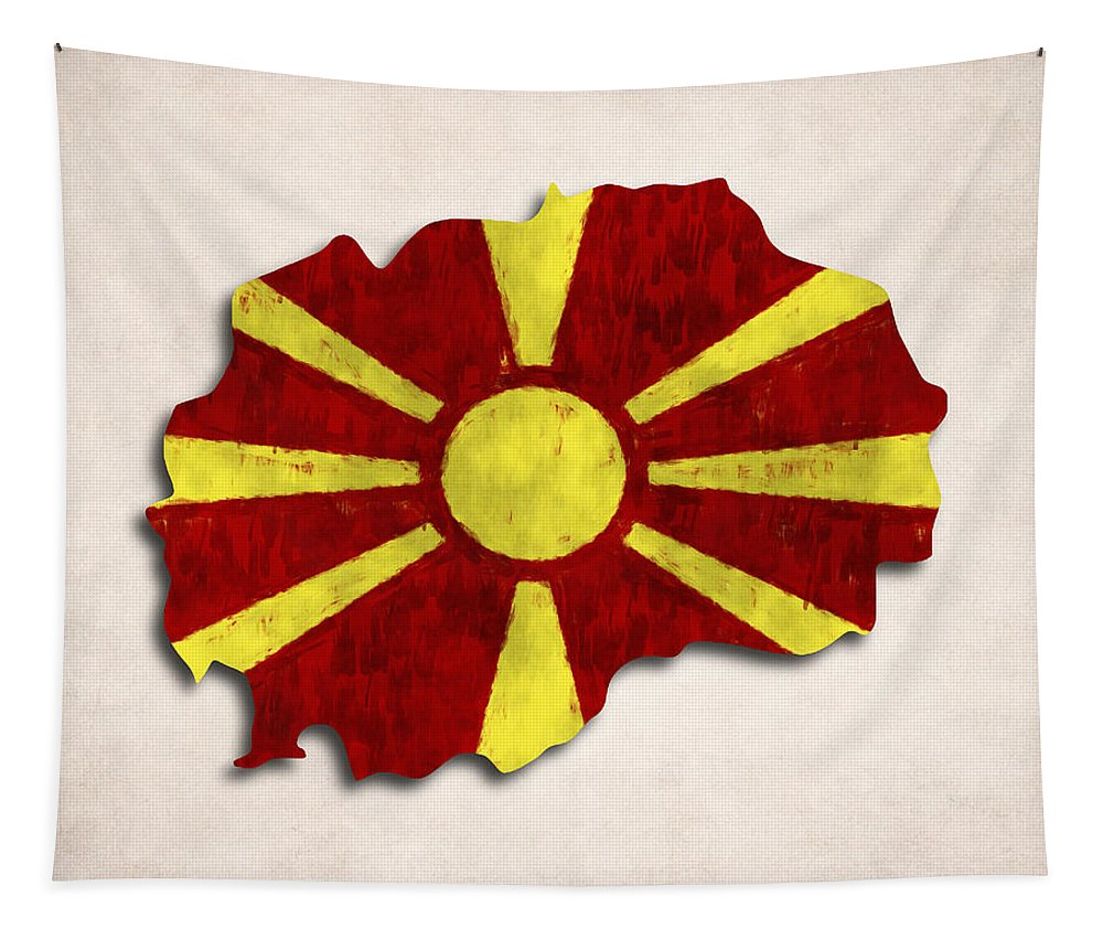 Macedonia Tapestry featuring the digital art Macedonia Map Art With Flag Design by World Art Prints And Designs