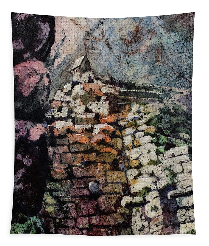 15th Century Tapestry featuring the painting Machu Picchu Ruins- Peru by Ryan Fox