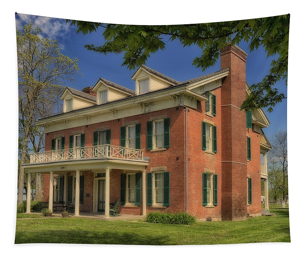 Missouri Tapestry featuring the photograph Maclay House Tipton Mo Built In 1858 Dsc01873 by Greg Kluempers