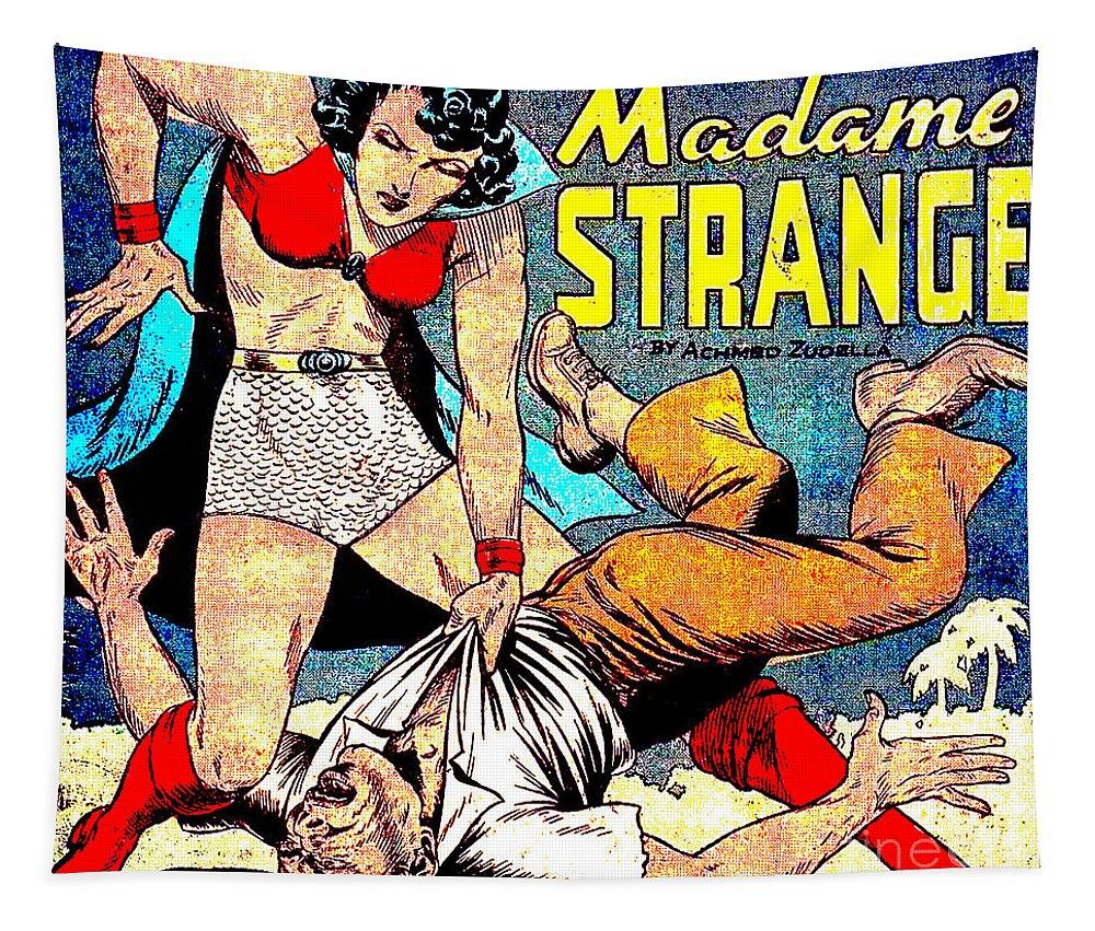 Madame Strange Tapestry featuring the digital art Madame Strange Comic Super Hero by R Muirhead Art