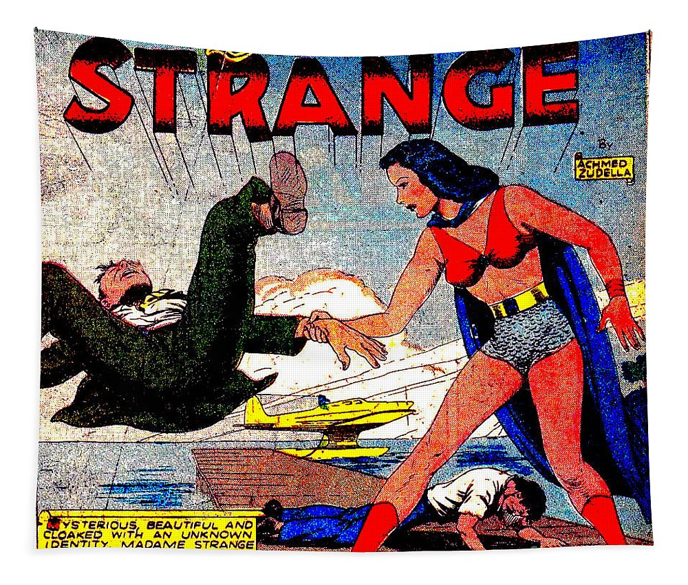 Madame Strange Tapestry featuring the digital art Madame Strange Female Comic Super Hero by R Muirhead Art