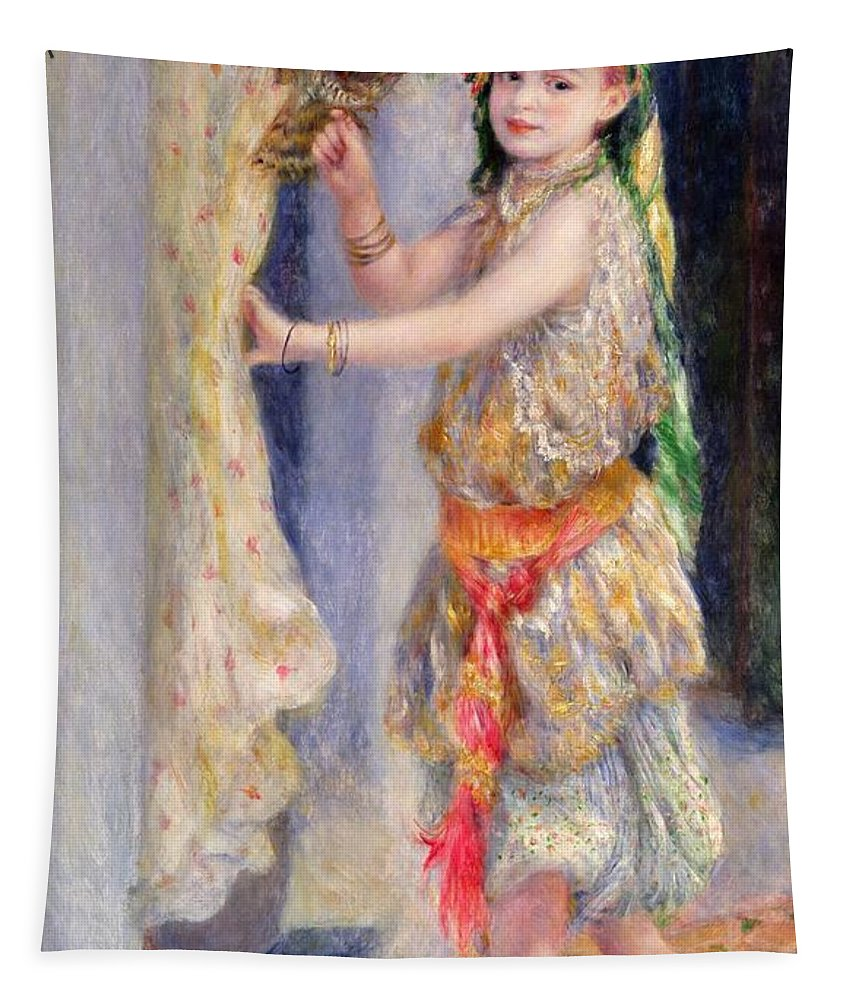 Female; Portrait; Traditional Algerian Costume; Young Girl; Child; Children; Impressionist; Bird; Innocent; Innocence; Fancy Dress Tapestry featuring the painting Mademoiselle Fleury In Algerian Costume by Pierre Auguste Renoir