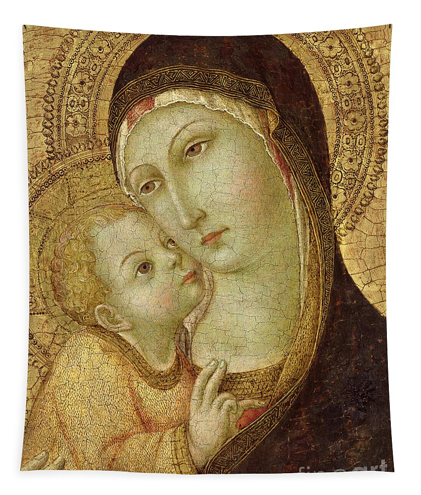 Madonna Tapestry featuring the painting Madonna And Child by Ansano di Pietro di Mencio