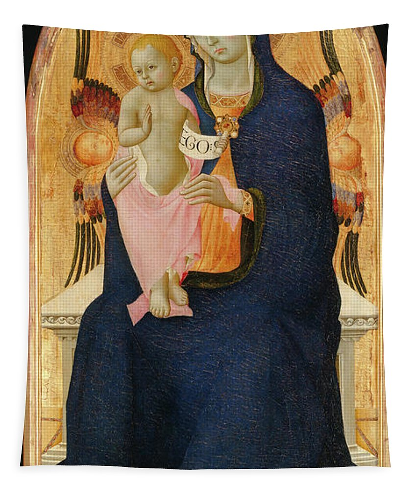 Madonna Tapestry featuring the painting Madonna And Child Enthroned With Two Cherubim                by Osservanza Master