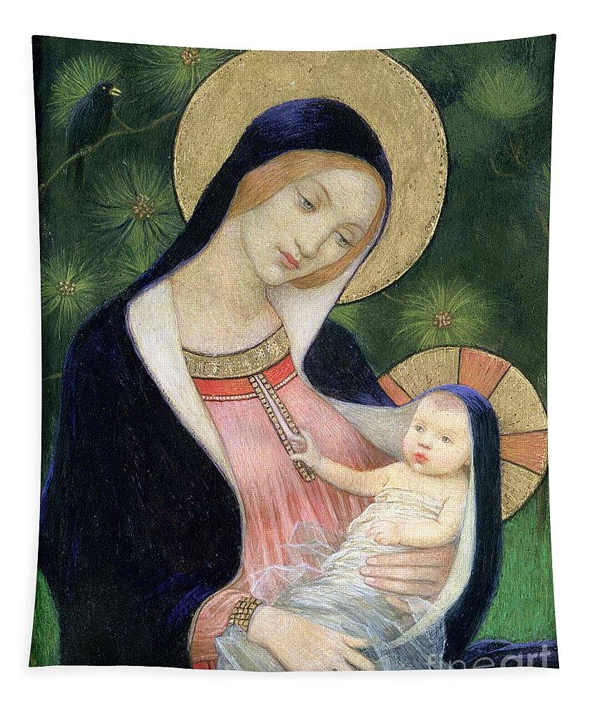 Madonna Of The Fir Tree Tapestry featuring the painting Madonna Of The Fir Tree by Marianne Stokes