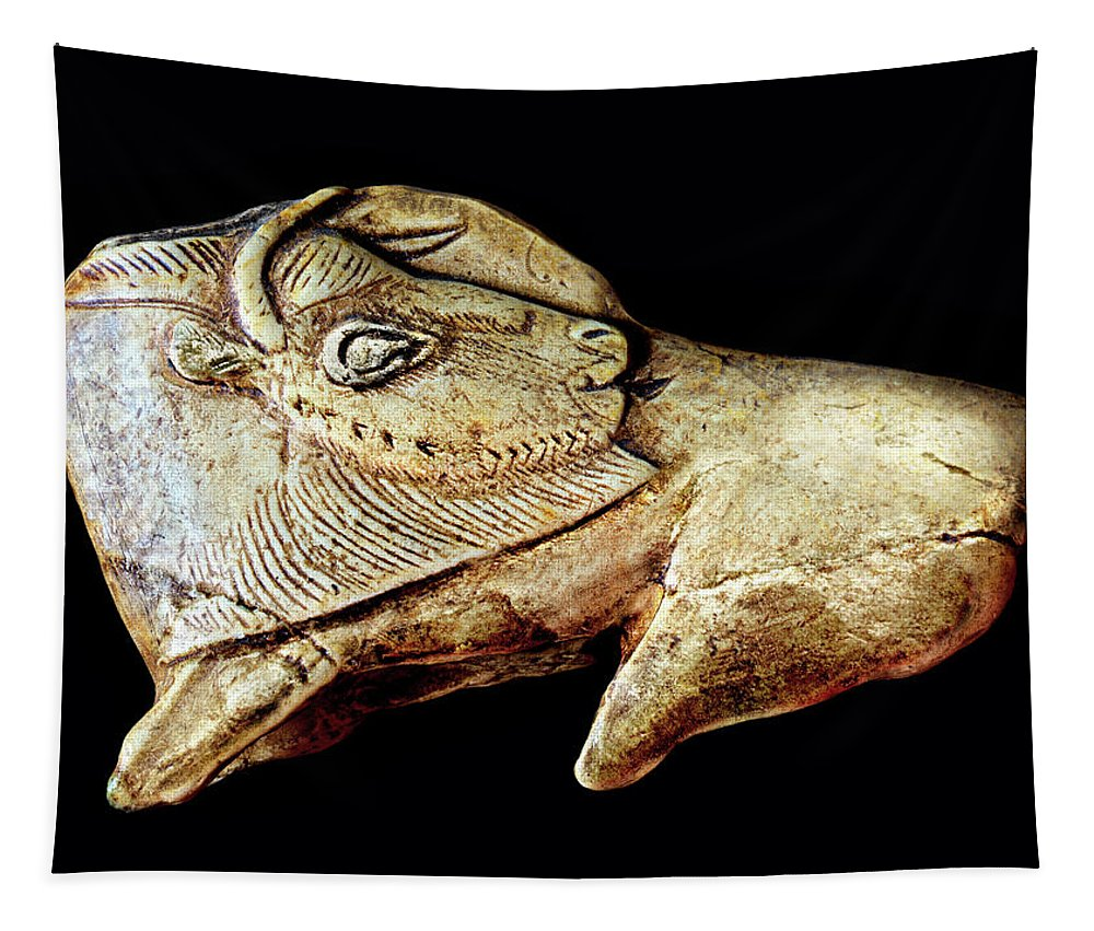 Carved Bison Tapestry featuring the photograph Magdalenian Carved Bison by Weston Westmoreland