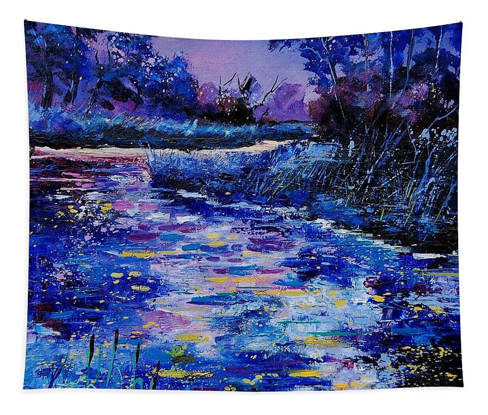 River Tapestry featuring the painting Magic Pond by Pol Ledent