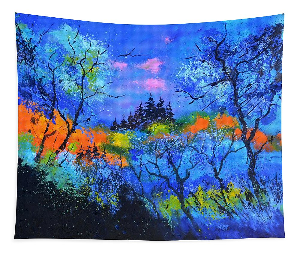 Landscape Tapestry featuring the painting Magis Forest by Pol Ledent