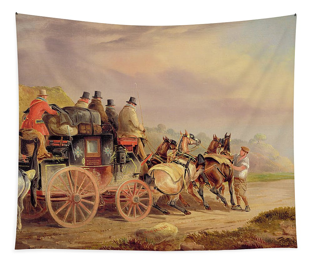 Mail Tapestry featuring the painting Mail Coaches On The Road - The 'quicksilver' by Charles Cooper Henderson