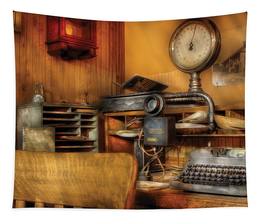 Savad Tapestry featuring the photograph Mailman - In The Office by Mike Savad