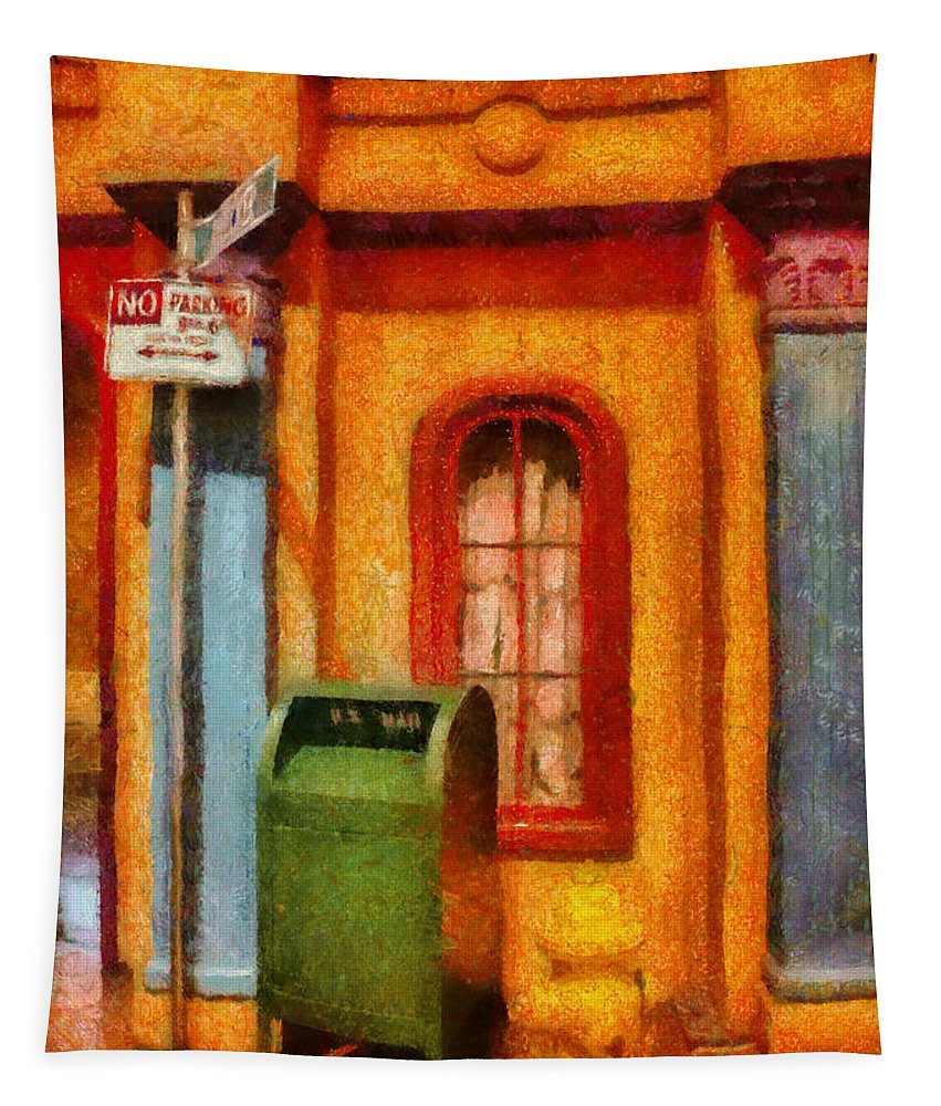 Savad Tapestry featuring the photograph Mailman - No Parking by Mike Savad