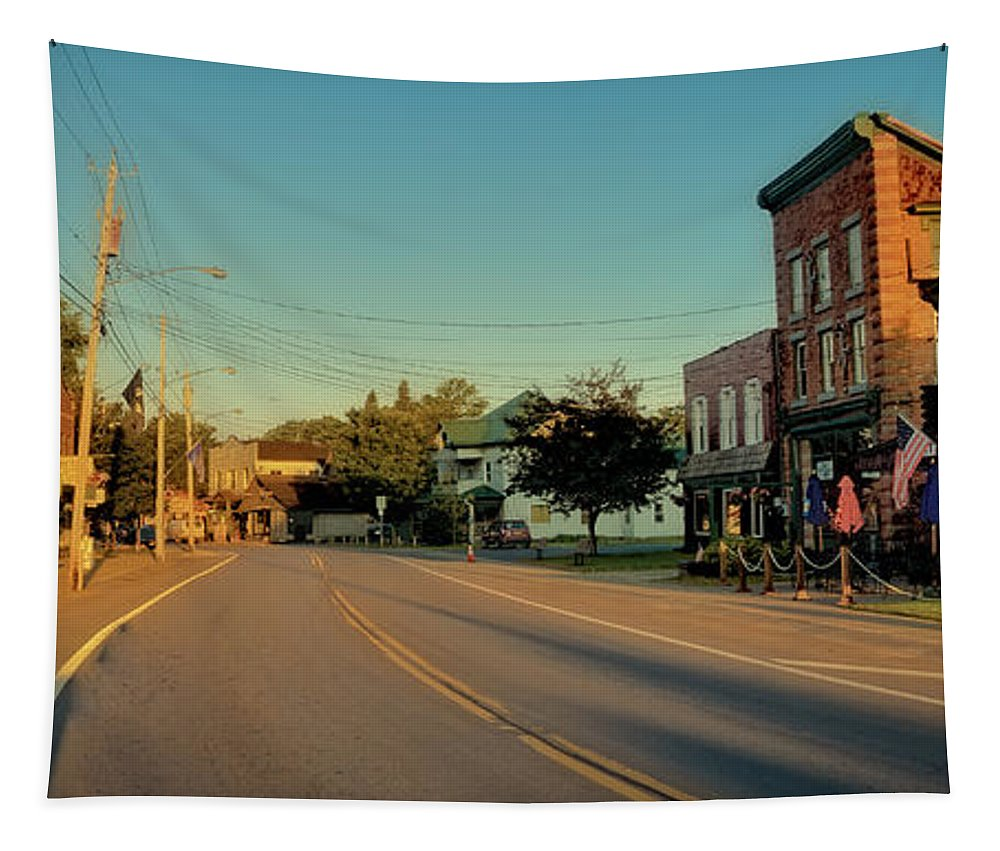 Main Street - Old Forge New York Tapestry featuring the photograph Main Street - Old Forge New York by David Patterson