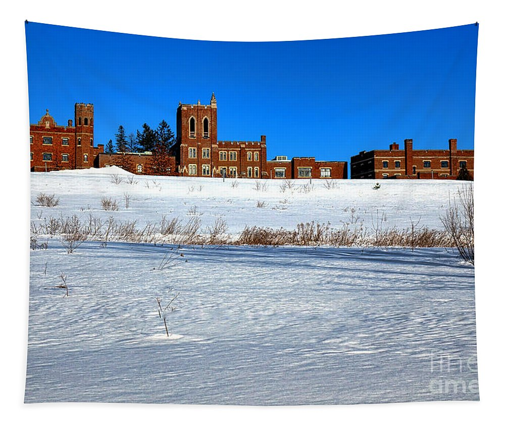 Maine Tapestry featuring the photograph Maine Criminal Justice Academy In Winter by Olivier Le Queinec