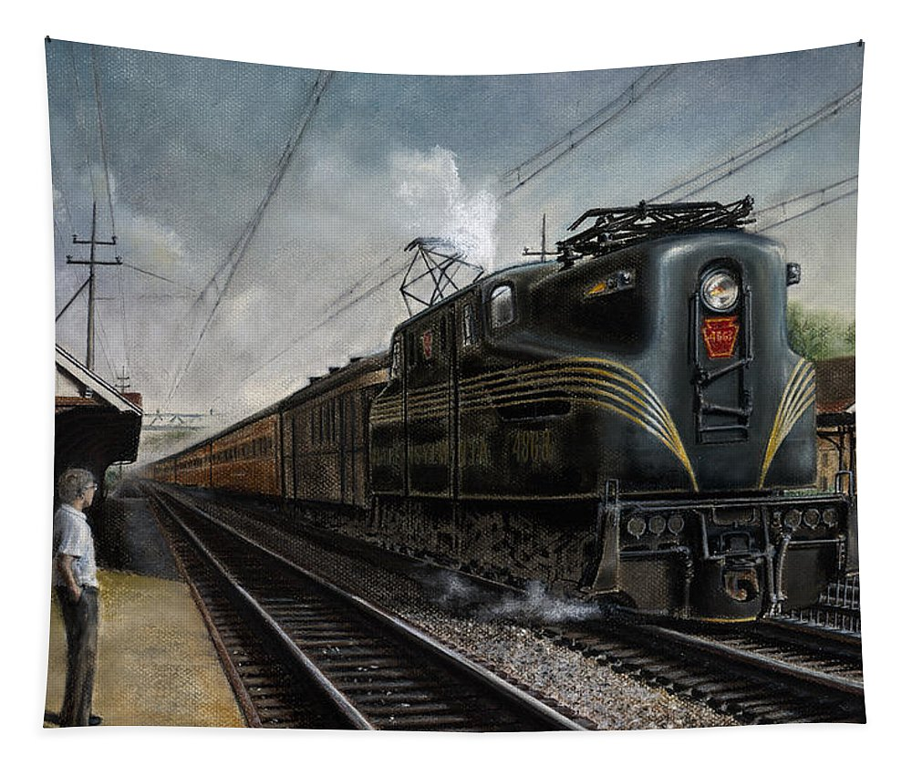 Trains Tapestry featuring the painting Mainline Memories by David Mittner