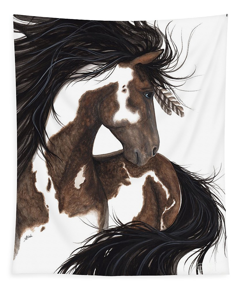Majestic Horse Tapestry featuring the painting Majestic Dream Pinto Horse by AmyLyn Bihrle