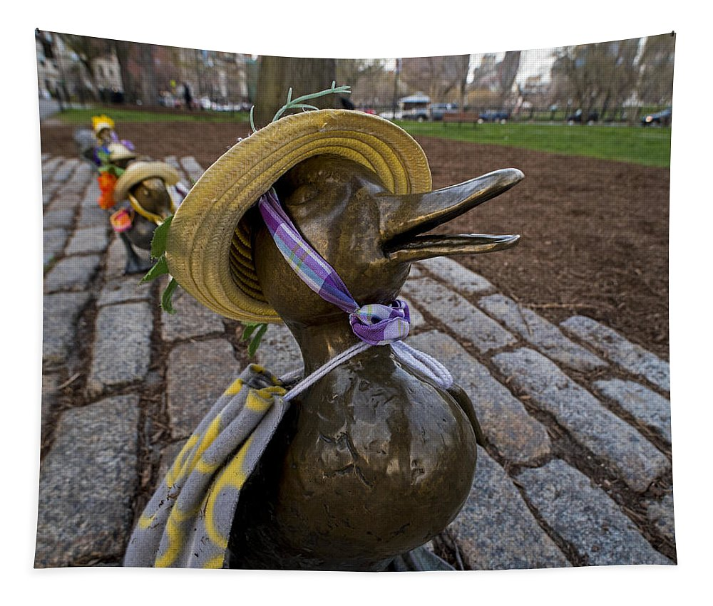 Boston Tapestry featuring the photograph Make Way For Ducklings B.a.a. 5k Spring Bonnet Blanket by Toby McGuire