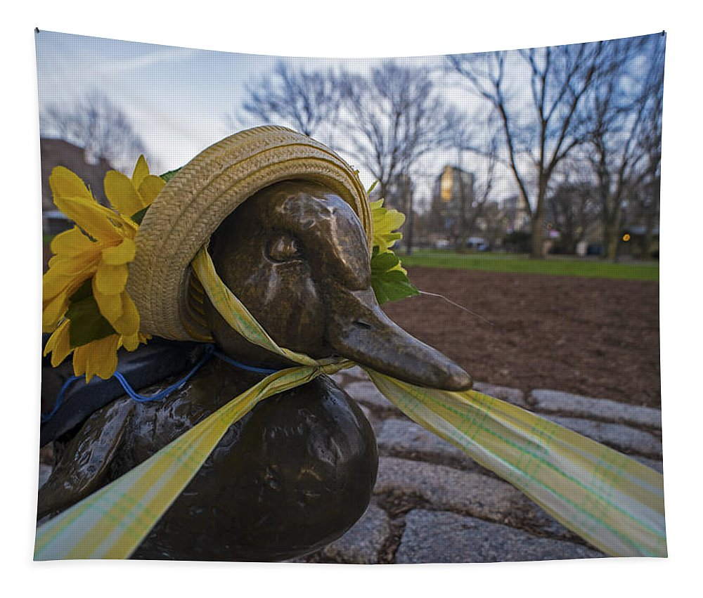 Boston Tapestry featuring the photograph Make Way For Ducklings B.a.a. 5k Spring Bonnet by Toby McGuire