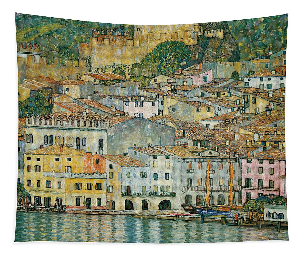 Gustav Klimt Tapestry featuring the painting Malcesine Lake Garda by Gustav Klimt