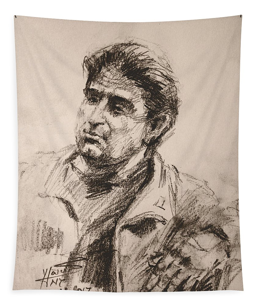 Sketch Tapestry featuring the drawing Man 5 by Ylli Haruni