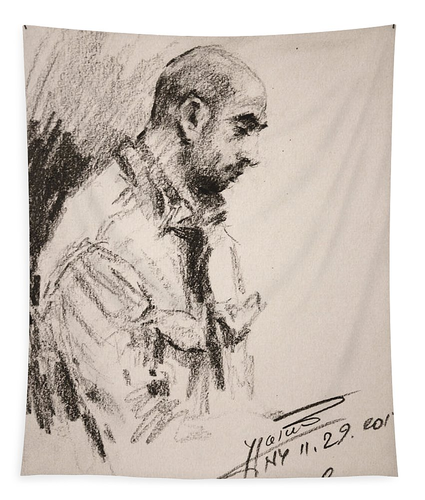 Sketch Tapestry featuring the drawing Man 7 by Ylli Haruni