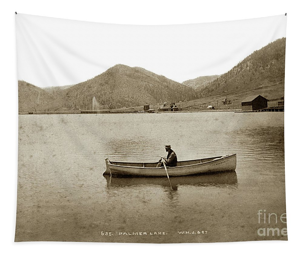 Palmer Lake Tapestry featuring the photograph Man In A Row Boat Named Lizzie On Palmer Lake On The Colorado Di by California Views Archives Mr Pat Hathaway Archives