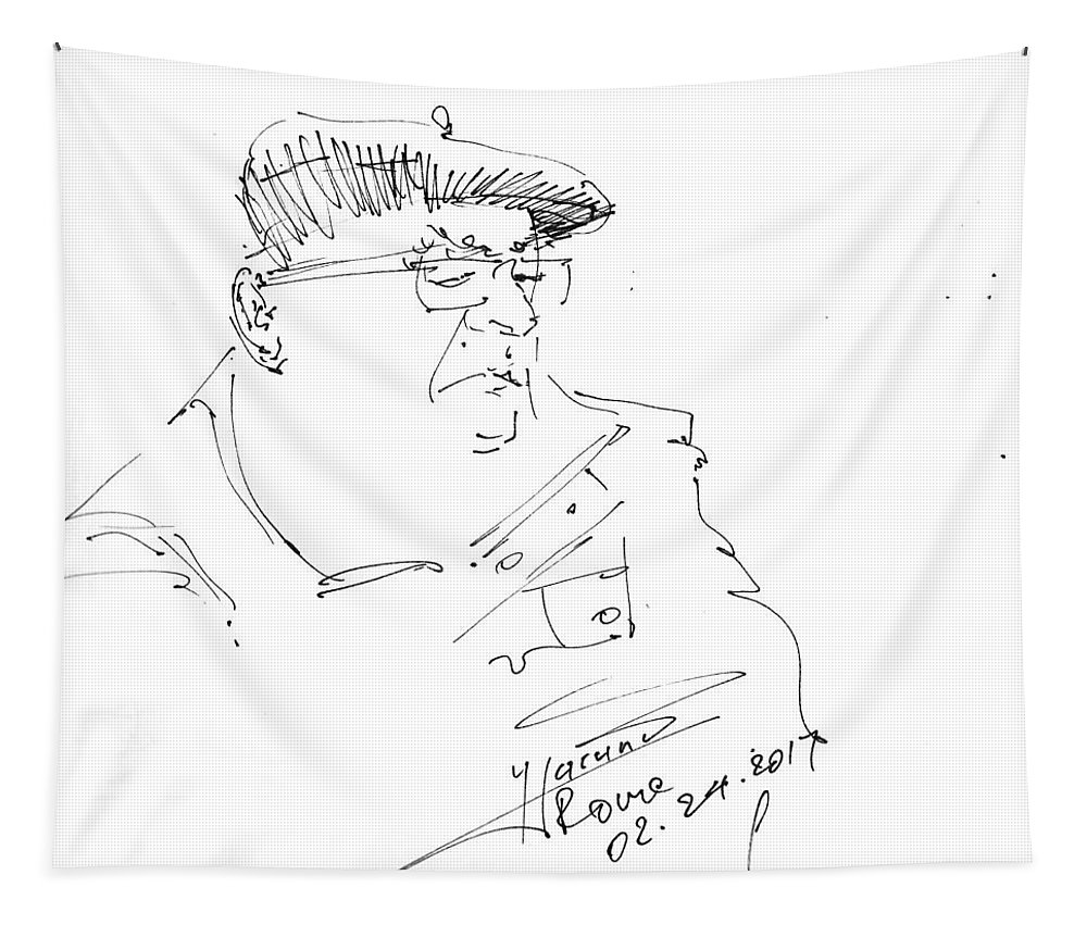 Portrait Sketch Tapestry featuring the drawing Man With Hat by Ylli Haruni
