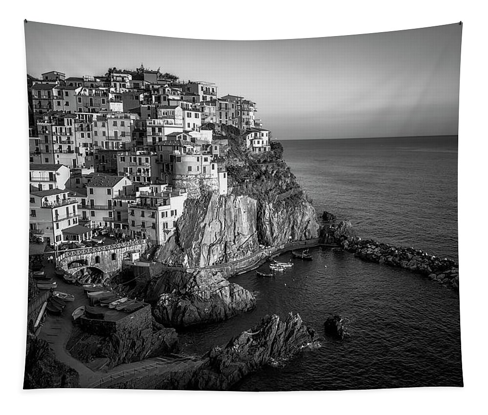 Joan Carroll Tapestry featuring the photograph Manarola Dusk Cinque Terre Italy Bw by Joan Carroll