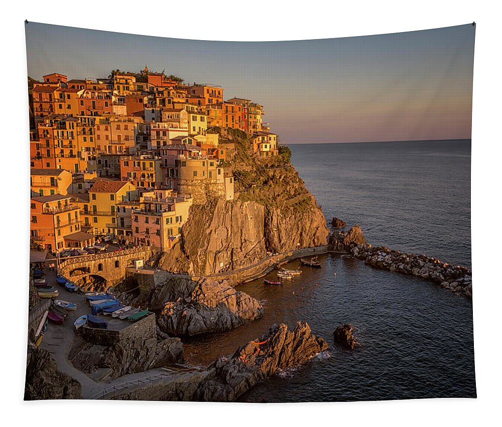 Joan Carroll Tapestry featuring the photograph Manarola Dusk Cinque Terre Italy by Joan Carroll