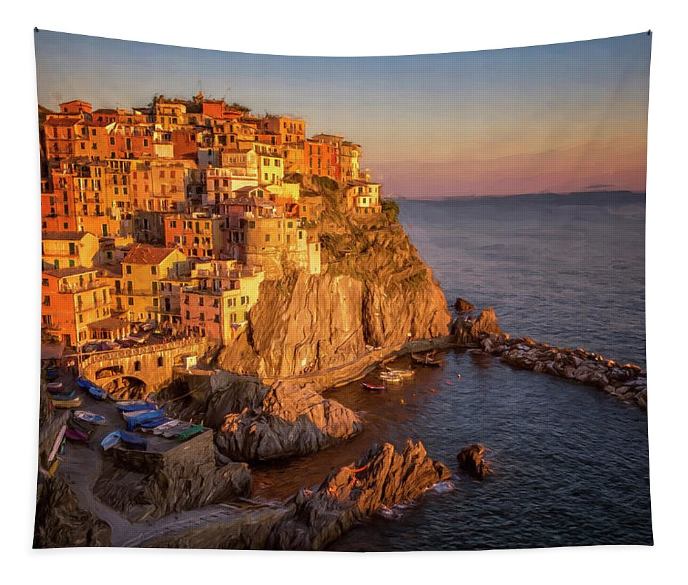 Joan Carroll Tapestry featuring the photograph Manarola Dusk Cinque Terre Italy Painterly by Joan Carroll