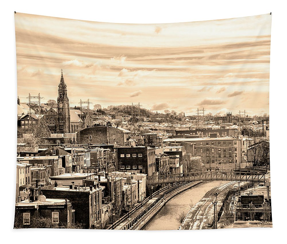 Manayunk Tapestry featuring the photograph Manayunk In March - Canal View In Sepia by Bill Cannon