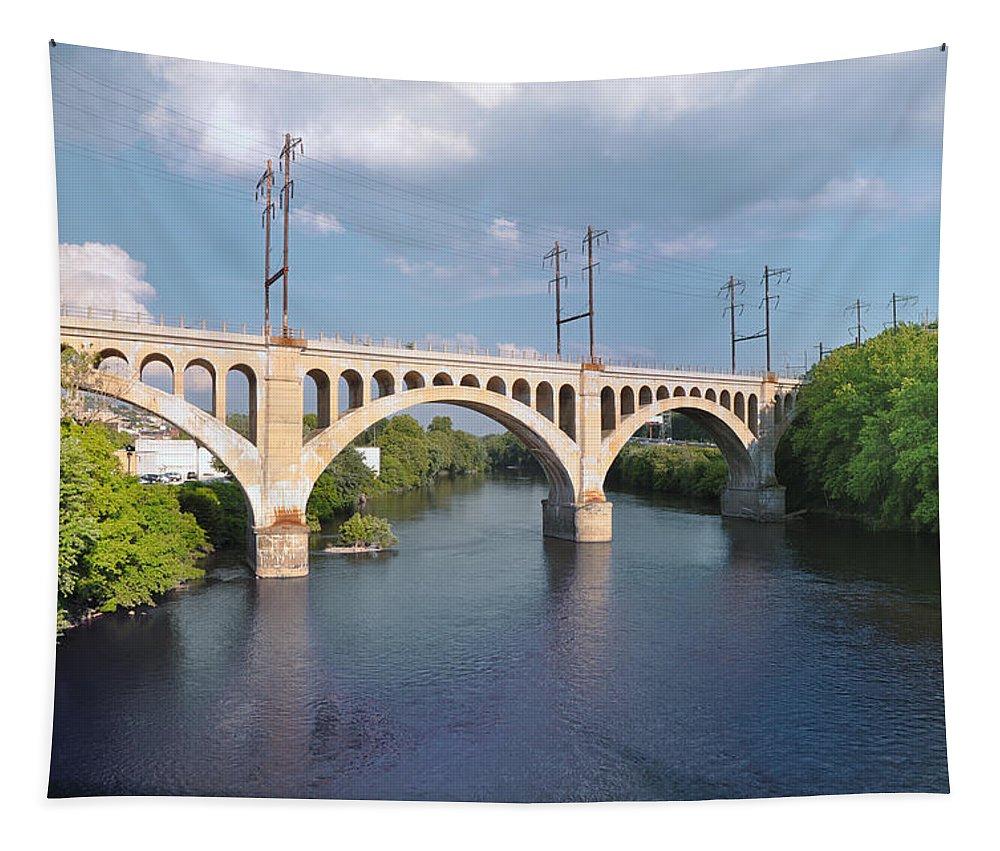 Manayunk Rail Road Bridge Tapestry featuring the photograph Manayunk Rail Road Bridge by Bill Cannon