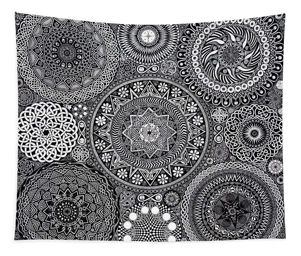 Mandala Tapestry featuring the drawing Mandala Bouquet by Matthew Ridgway