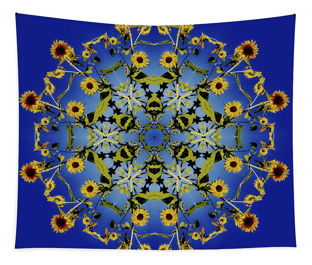 Mandala Tapestry featuring the digital art Mandala Sunflower by Nancy Griswold