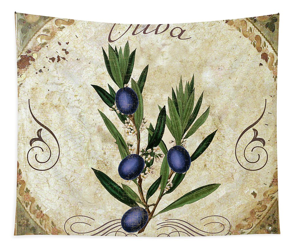 Olive Tapestry featuring the painting Mangia Olives by Mindy Sommers