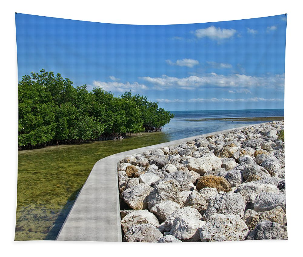 Ocean Tapestry featuring the photograph Mangroves Rocks And Ocean by Bob Slitzan