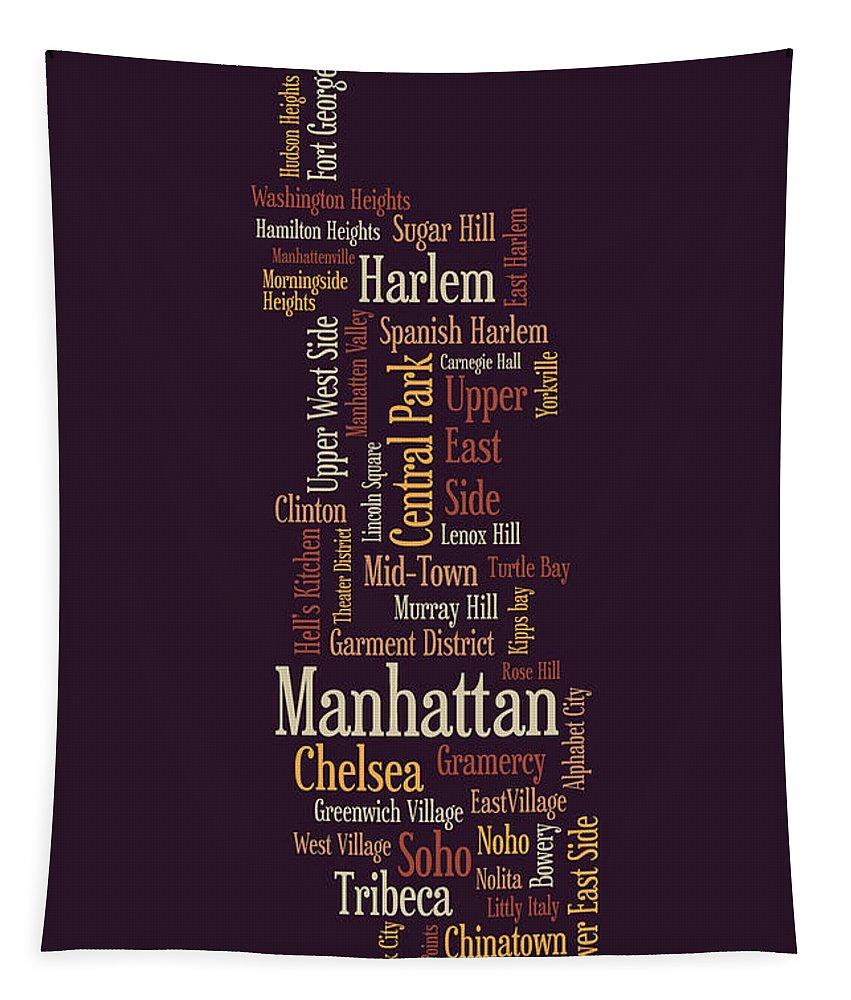 Manhattan Map Tapestry featuring the digital art Manhattan New York Typographic Map by Michael Tompsett