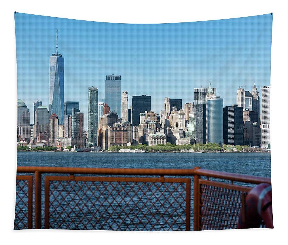 Manhattan Skyline Tapestry featuring the photograph Manhatten Skyline by Robert VanDerWal