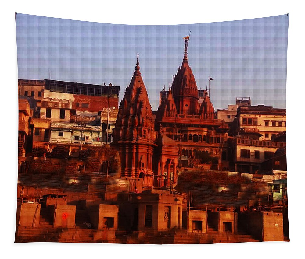 Manikarnika Ghat Tapestry featuring the photograph Manikarnika Ghat by Nick Photography