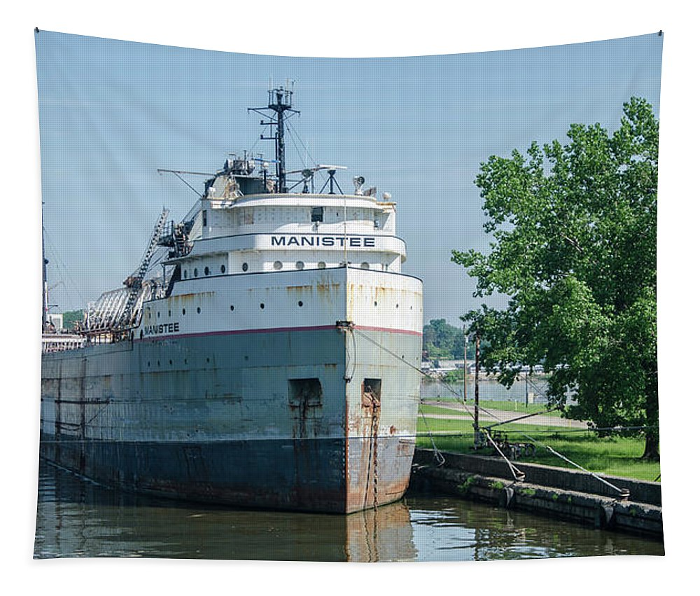 Manistee Tapestry featuring the photograph Manistee In Layup At Toledo by Gales Of November