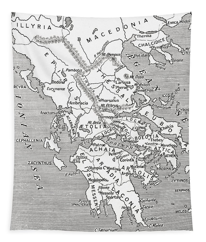 Map Of Ancient Greece Tapestry featuring the drawing Map Of Ancient Greece by English School