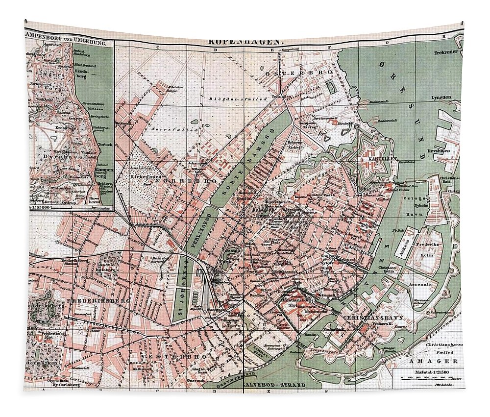 Map Tapestry featuring the drawing Map Of Copenhagen 1888 by Mountain Dreams