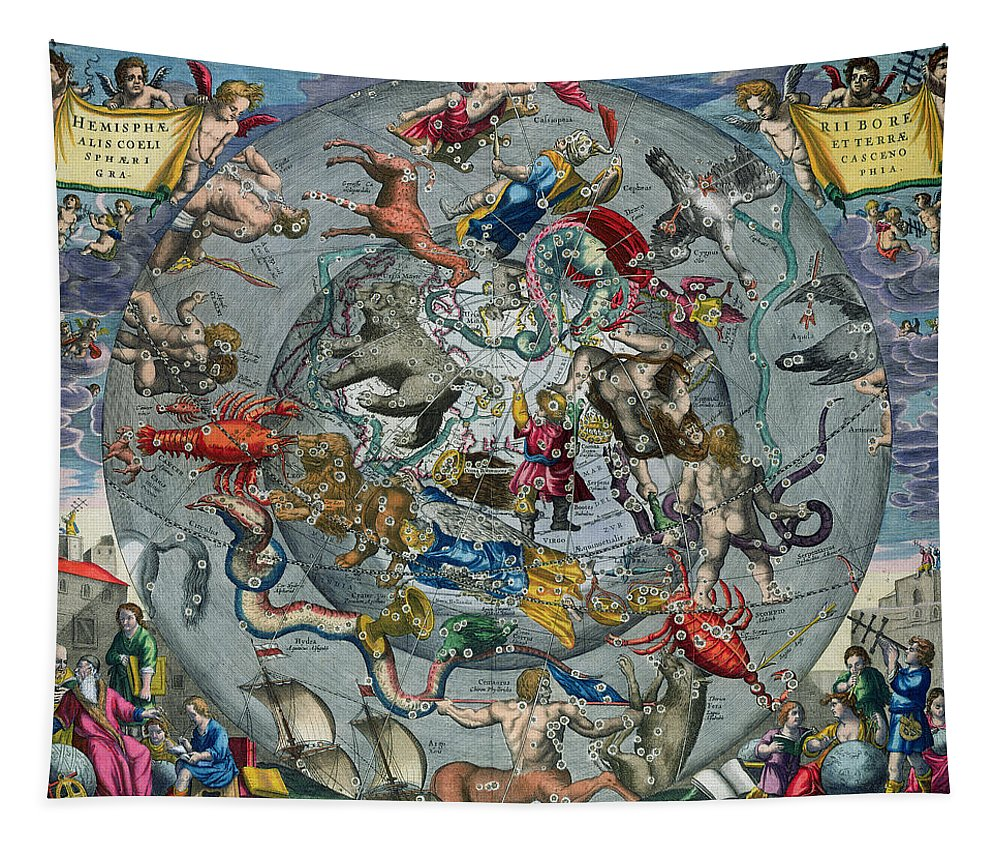Map Tapestry featuring the painting Map of the Constellations of the Northern Hemisphere by Andreas Cellarius