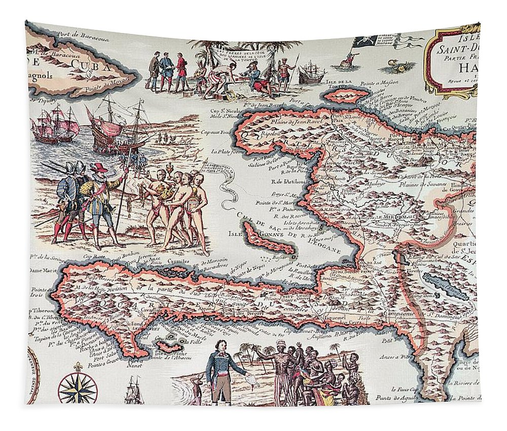 Maps Tapestry featuring the drawing Map of the Island of Haiti by French School