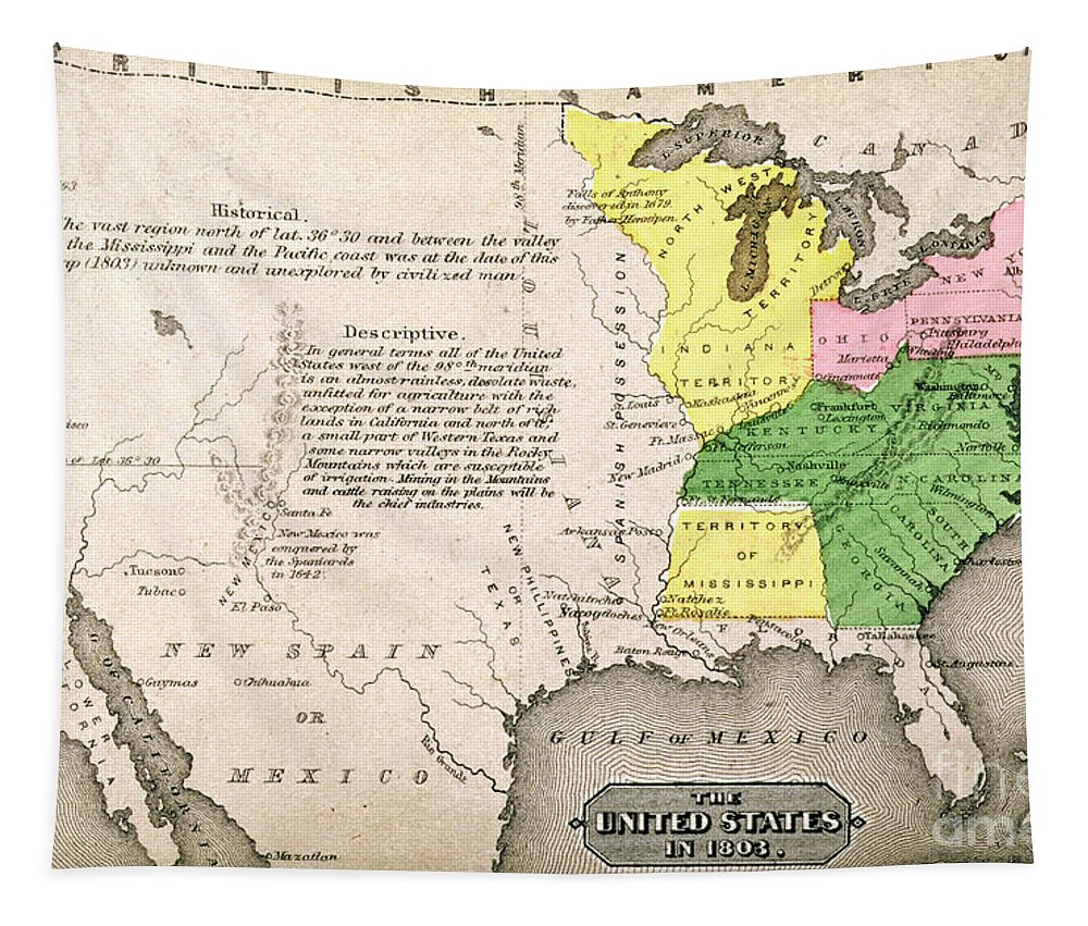 Map Tapestry featuring the painting Map of the United States by John Warner Barber and Henry Hare