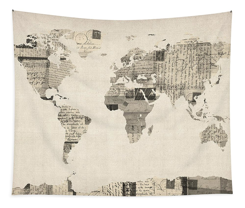 World Map Tapestry featuring the digital art Map Of The World Map From Old Postcards by Michael Tompsett