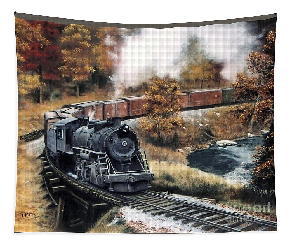 Train Painting Railroad Maryland And Pennsylvania Autumn Fall Colors Steam Engine Tapestry featuring the painting MaPa by David Mittner