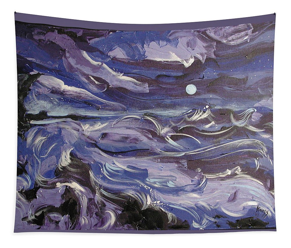 Sea Tapestry featuring the painting Mar Bravo by Rollin Kocsis